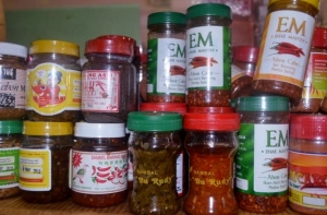 All kinds of sambal, or chilli paste from Indonesia in Nusa Indah shop.