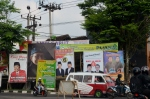 local election banners in Garut, west Java province.