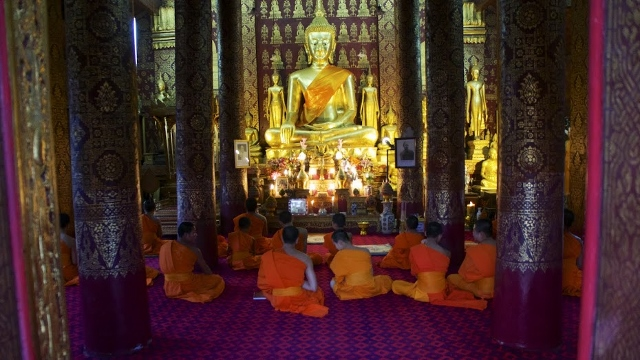 A monastery in Luang Prabang where monks gather and pray