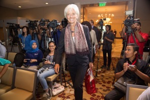 International Monetary Fund Managing Director Christine Lagarde walks into her press conference upon the conclusion of her visit to Indonesia at the Grand Hyatt Hotel September 2, 2015 in Jakarta, Indonesia. IMF Staff Photo/Stephen Jaffe