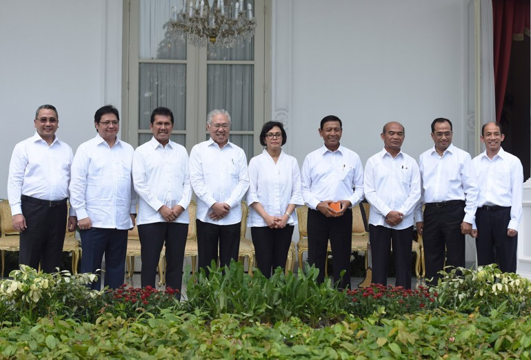 President Jokowi reshuffled his cabinet on July 27, 2016. As many as 12 positions are switched around, including new high profile names such as Sri Mulyani Indrawati. Photo taken from setkab.go.id